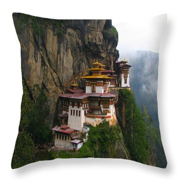 Famous Tigers Nest Monastery Of Bhutan Throw Pillow by Lanjee Chee