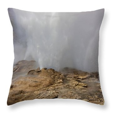Fan And Mortar Erupt Throw Pillow