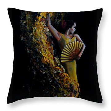 Throw Pillow featuring the painting Fan Dance by Nancy Bradley