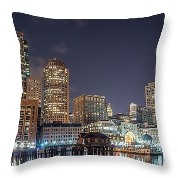 Fan Pier Boston Ma On A Hot July Night Throw Pillow