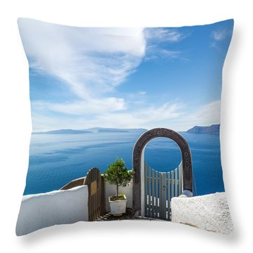 Fanastic View From Santorini Island Throw Pillow