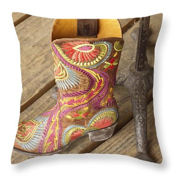 Fancy Cowboy Boot Throw Pillow by Elvira Butler