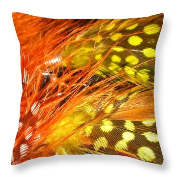 Fancy Feathers Throw Pillow by Catherine Ratliff
