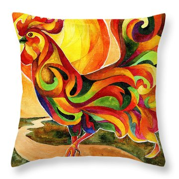 Fancy Feathers Rooster Throw Pillow by Sherry Shipley
