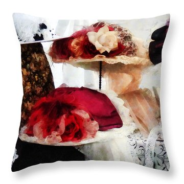 Fancy Hats Throw Pillow by Susan Savad