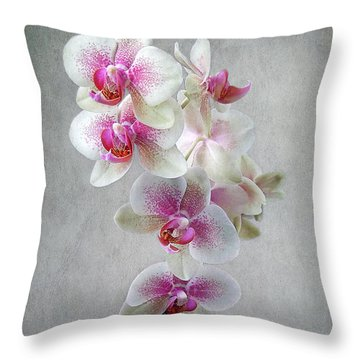 Fancy Orchids Throw Pillow by Louise Kumpf
