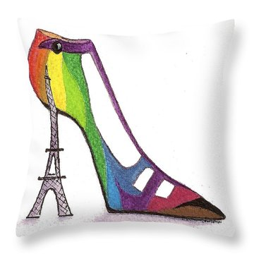 Fancy Parisian Shoe Throw Pillow by Nan Wright