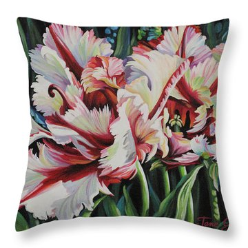 Fancy Parrot Tulips Throw Pillow