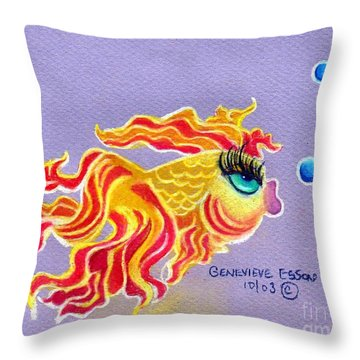 Fancytail Goldfish Throw Pillow by Genevieve Esson