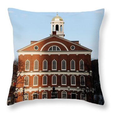 Throw Pillow featuring the photograph Faneuil Hall At Sunset by Caroline Stella