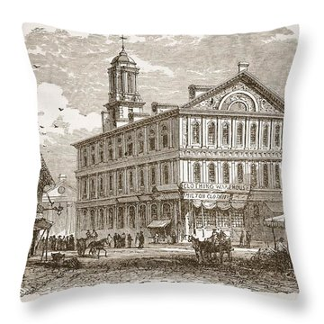 Faneuil Hall, Boston, Which Webster Throw Pillow by American School