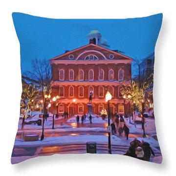 Faneuil Hall Holiday- Boston Throw Pillow by Joann Vitali