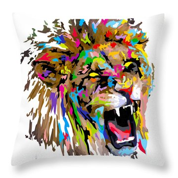 Throw Pillow featuring the painting Fangs by Anthony Mwangi