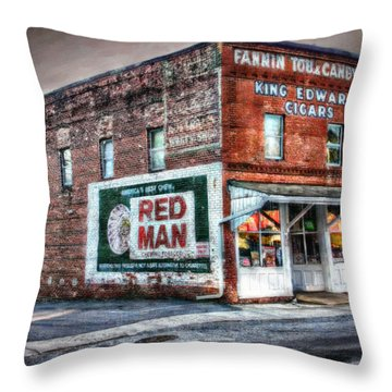 Fannin Tobacco And Candy Company Throw Pillow