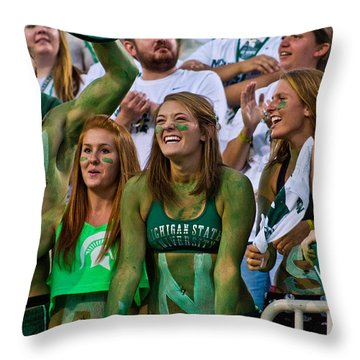 fans at MSU Football Game  Throw Pillow by John McGraw