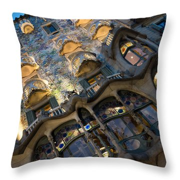 Fantastical Casa Batllo - Antoni Gaudi Barcelona Throw Pillow