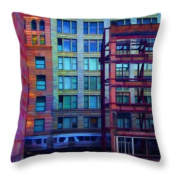 Throw Pillow featuring the pyrography Fantastical Chicago Loop by John Hansen