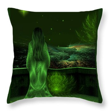 Fantasy Art - Wishing Upon A Star In A Green Night  By Rgiada  Throw Pillow