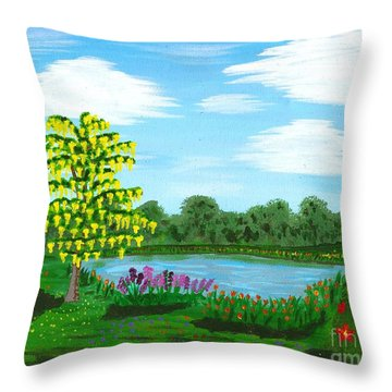 Fantasy Backyard Throw Pillow by Vicki Maheu