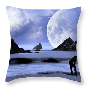 Fantasy Beach Throw Pillow
