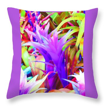 Fantasy Bromeliad Abstract Throw Pillow