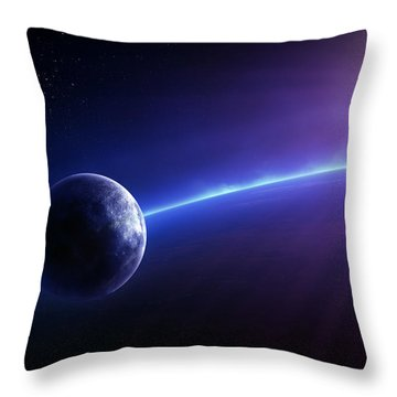 Fantasy Earth And Moon With Colourful  Sunrise Throw Pillow