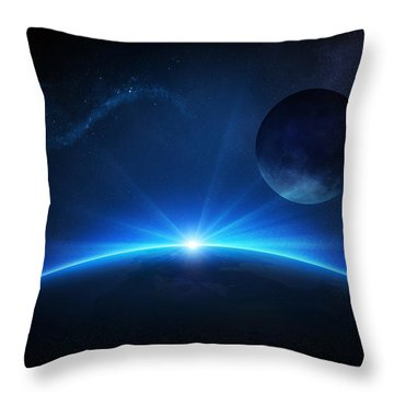 Fantasy Earth And Moon With Sunrise Throw Pillow