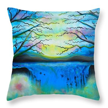 Fantasy Falls Throw Pillow by Shirley Smith