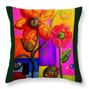 Fantasy Flowers Throw Pillow by Eloise Schneider