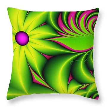 Throw Pillow featuring the digital art Fantasy Flowers by Gabiw Art