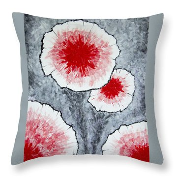 Throw Pillow featuring the painting Fantasy Flowers In Red No 1 by Ben Gertsberg
