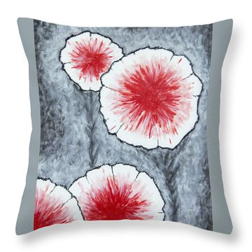 Throw Pillow featuring the painting Fantasy Flowers In Red No 2 by Ben Gertsberg