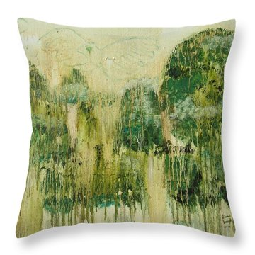 Throw Pillow featuring the painting Fantasy Forest by Diane Pape