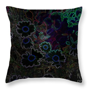 Fantasy Garden No. 3 At Night Throw Pillow by Cathy Peterson