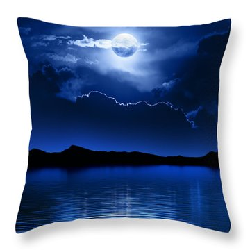 Fantasy Moon And Clouds Over Water Throw Pillow