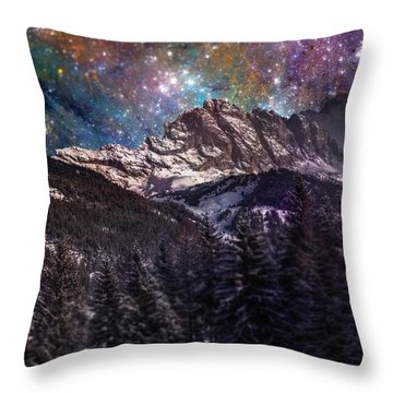 Fantasy Mountain Landscape Throw Pillow