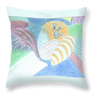 Fantasy Of Egg And Cactus Throw Pillow by Esther Newman-Cohen