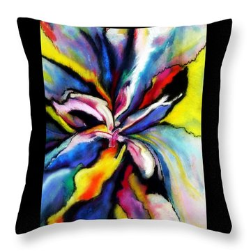 Throw Pillow featuring the painting Fantasy Orchid by Jodie Marie Anne Richardson Traugott          aka jm-ART
