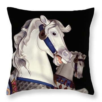 fantasy ponies - Grays on Black Throw Pillow