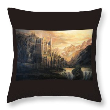 Fantasy Study Throw Pillow by Donna Tucker