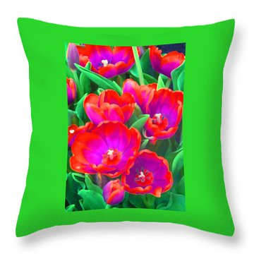 Fantasy Tulip Abstract Throw Pillow by Margaret Saheed