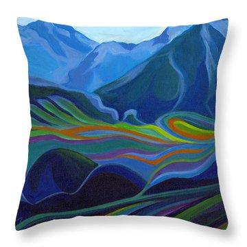 Faraway Mountains Throw Pillow