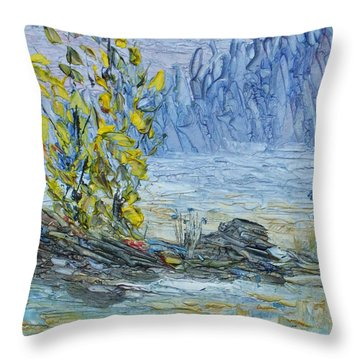 Far Off Woodland Lough Hyne. Throw Pillow