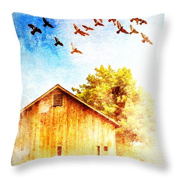 Farm And Birds Throw Pillow