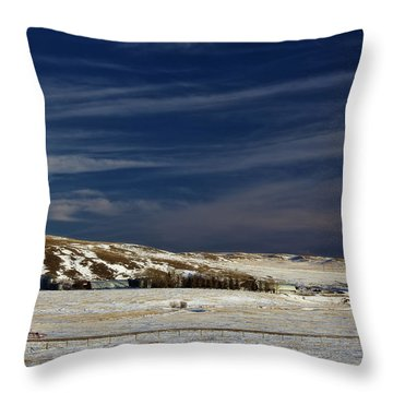 Farm At Bottom Of Hill In Winter Throw Pillow by Roberta Murray