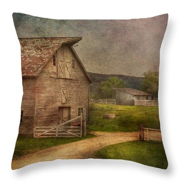 Farm - Barn - The Old Gray Barn  Throw Pillow by Mike Savad
