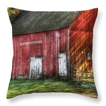 Farm - Barn - The Old Red Barn Throw Pillow by Mike Savad