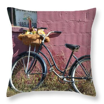 Farm Bicycle Throw Pillow