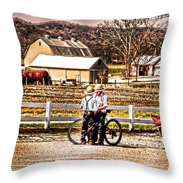 Farm Boys Country Exchange Throw Pillow by Randall Branham