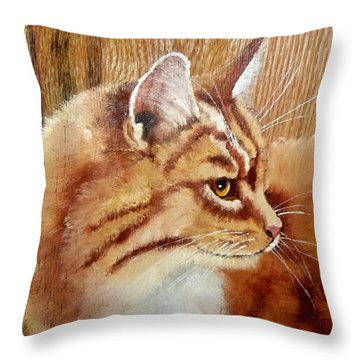 Farm Cat On Rustic Wood Throw Pillow by Debbie LaFrance